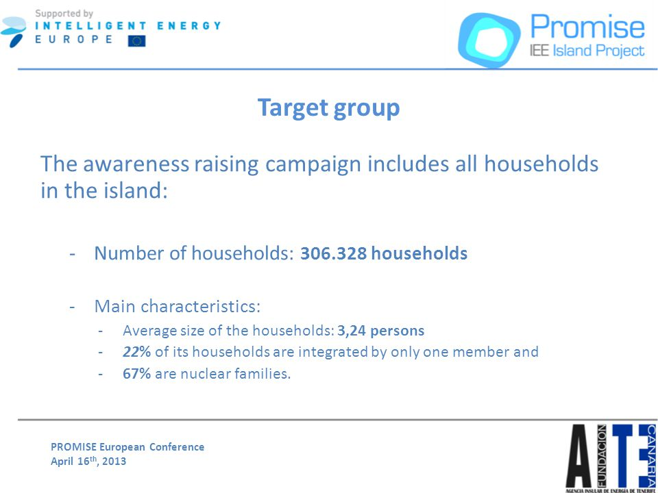 PROMISE European Conference April 16 th, 2013 Target group The awareness raising campaign includes all households in the island: -Number of households