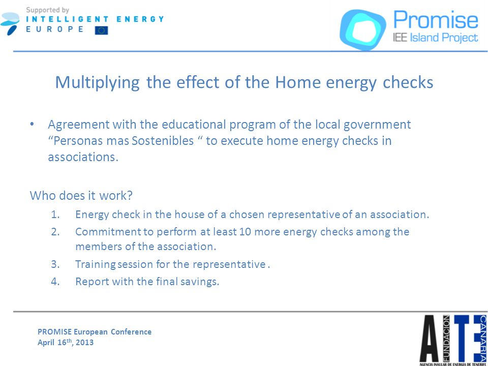 PROMISE European Conference April 16 th, 2013 Multiplying the effect of the Home energy checks Agreement with the educational program of the local gov
