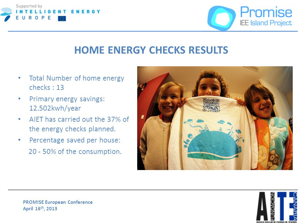 PROMISE European Conference April 16 th, 2013 Total Number of home energy checks : 13 Primary energy savings: 12.502kwh/year AIET has carried out the