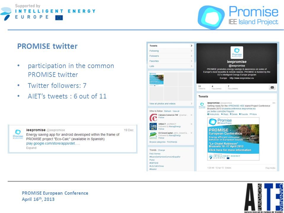 PROMISE European Conference April 16 th, 2013 PROMISE twitter participation in the common PROMISE twitter Twitter followers: 7 AIETs tweets : 6 out of 11