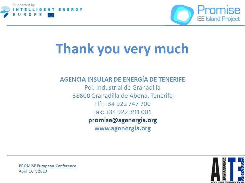 PROMISE European Conference April 16 th, 2013 Thank you very much AGENCIA INSULAR DE ENERGÍA DE TENERIFE Pol. Industrial de Granadilla 38600 Granadill