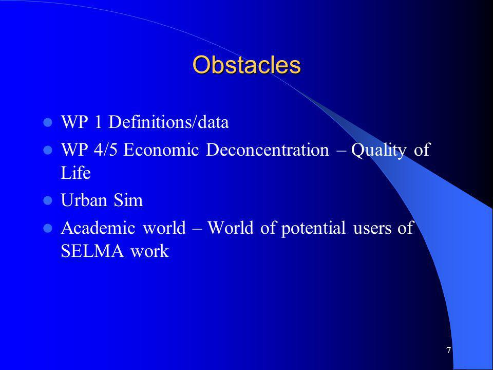 7 Obstacles WP 1 Definitions/data WP 4/5 Economic Deconcentration – Quality of Life Urban Sim Academic world – World of potential users of SELMA work