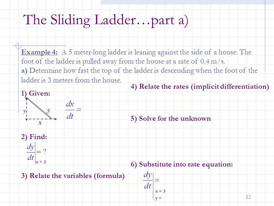 12 The Sliding Ladder…part a) 5 x y Example 4: A 5 meter-long ladder is leaning against the side of a house. The foot of the ladder is pulled away fro