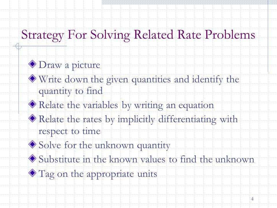 4 Strategy For Solving Related Rate Problems Draw a picture Write down the given quantities and identify the quantity to find Relate the variables by