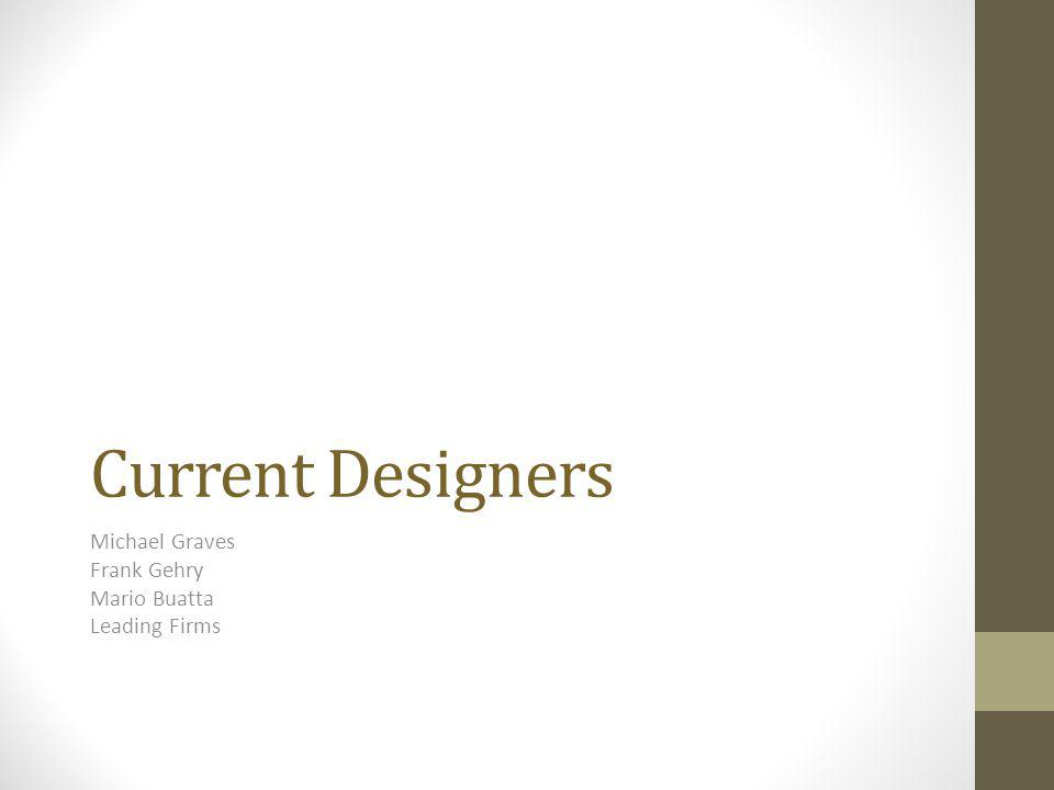 Current Designers Michael Graves Frank Gehry Mario Buatta Leading Firms
