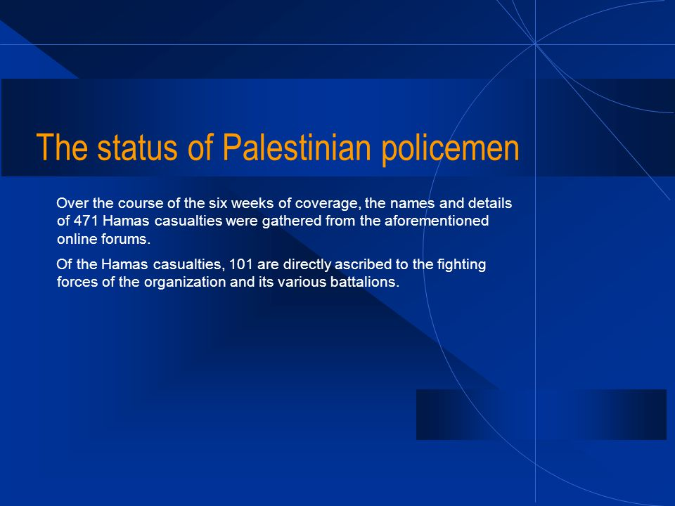 The status of Palestinian policemen Over the course of the six weeks of coverage, the names and details of 471 Hamas casualties were gathered from the