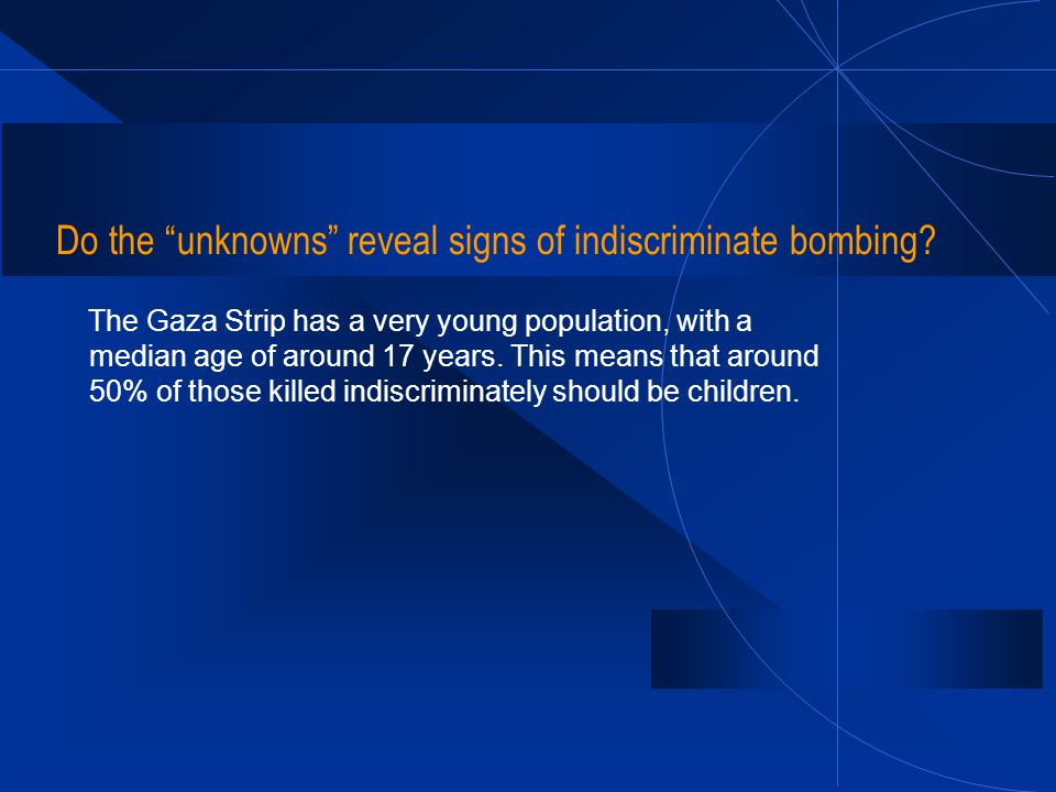 Do the unknowns reveal signs of indiscriminate bombing? The Gaza Strip has a very young population, with a median age of around 17 years. This means t