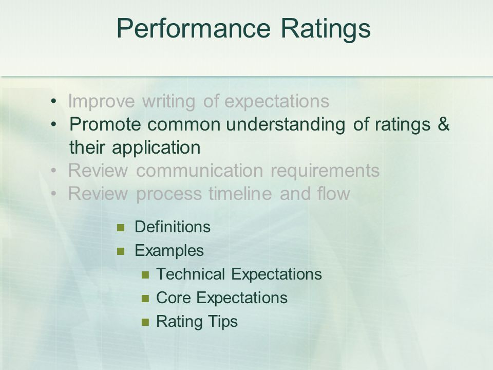 Improve writing of expectations Promote common understanding of ratings & their application Review communication requirements Review process timeline and flow Performance Ratings Definitions Examples Technical Expectations Core Expectations Rating Tips