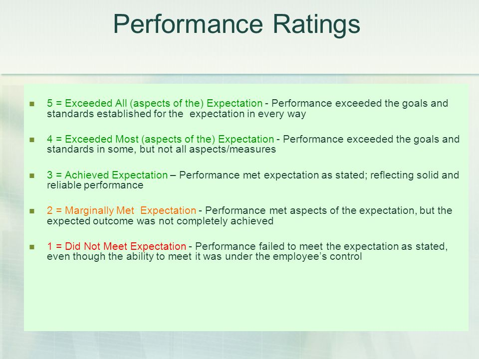 Performance Ratings 5 = Exceeded All Job Expectations - Performance exceeded the goals and standards established for the position. Demonstrated perfor