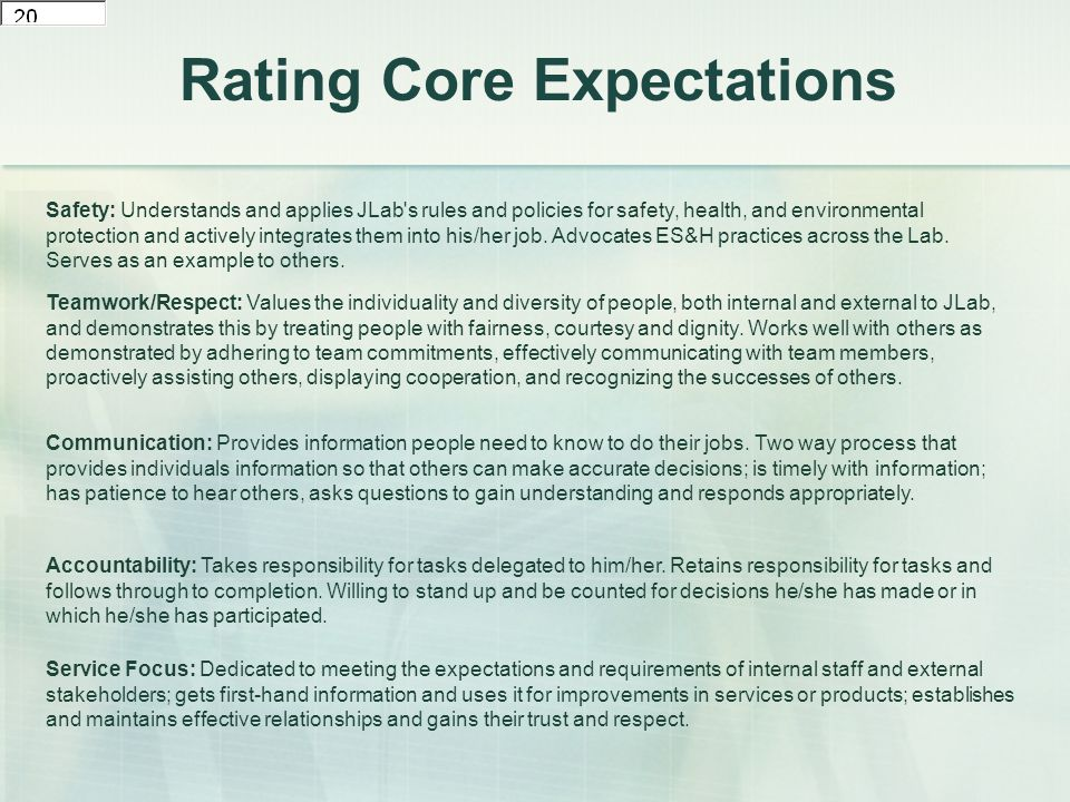 Rating Core Expectations Safety: Understands and applies JLab s rules and policies for safety, health, and environmental protection and actively integrates them into his/her job.