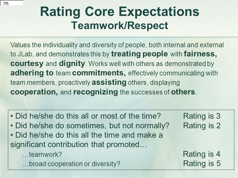 Rating Core Expectations Teamwork/Respect Values the individuality and diversity of people, both internal and external to JLab, and demonstrates this by treating people with fairness, courtesy and dignity.
