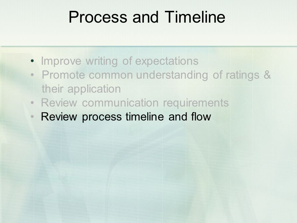 Improve writing of expectations Promote common understanding of ratings & their application Review communication requirements Review process timeline and flow Process and Timeline