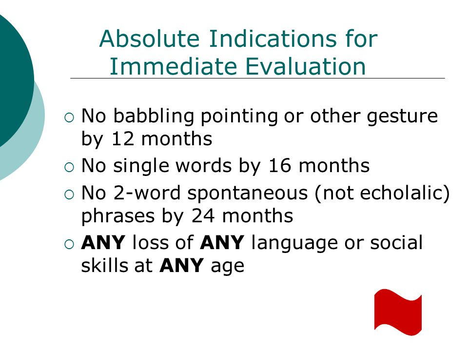 Absolute Indications for Immediate Evaluation No babbling pointing or other gesture by 12 months No single words by 16 months No 2-word spontaneous (n