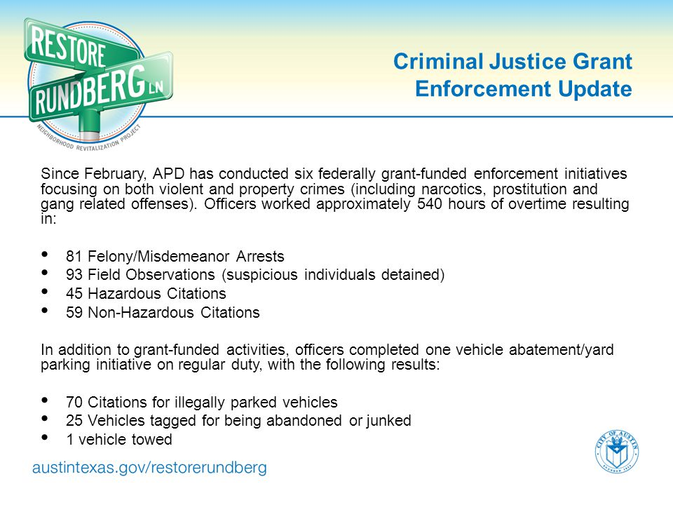 Criminal Justice Grant Enforcement Update Since February, APD has conducted six federally grant-funded enforcement initiatives focusing on both violen