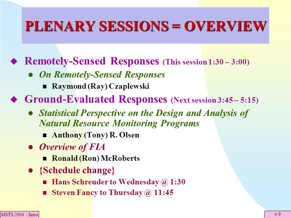 # 20 MSTS/2004 - Intro SECOND PLENARY SPEAKER Anthony (Tony) R.