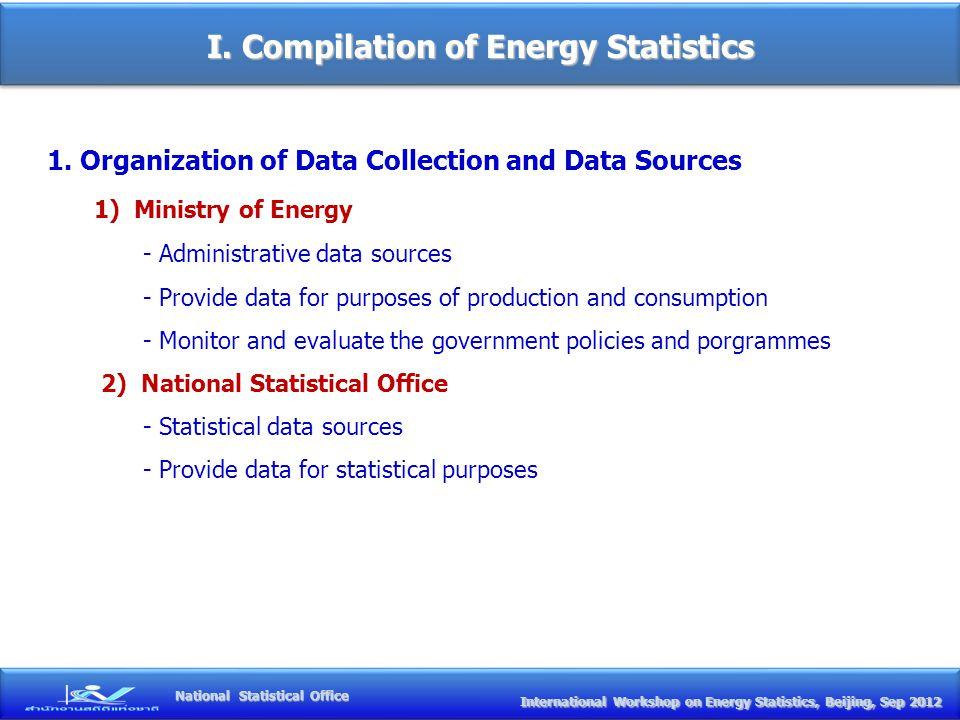 I. Compilation of Energy Statistics International Workshop on Energy Statistics, Beijing, Sep 2012 International Workshop on Energy Statistics, Beijin