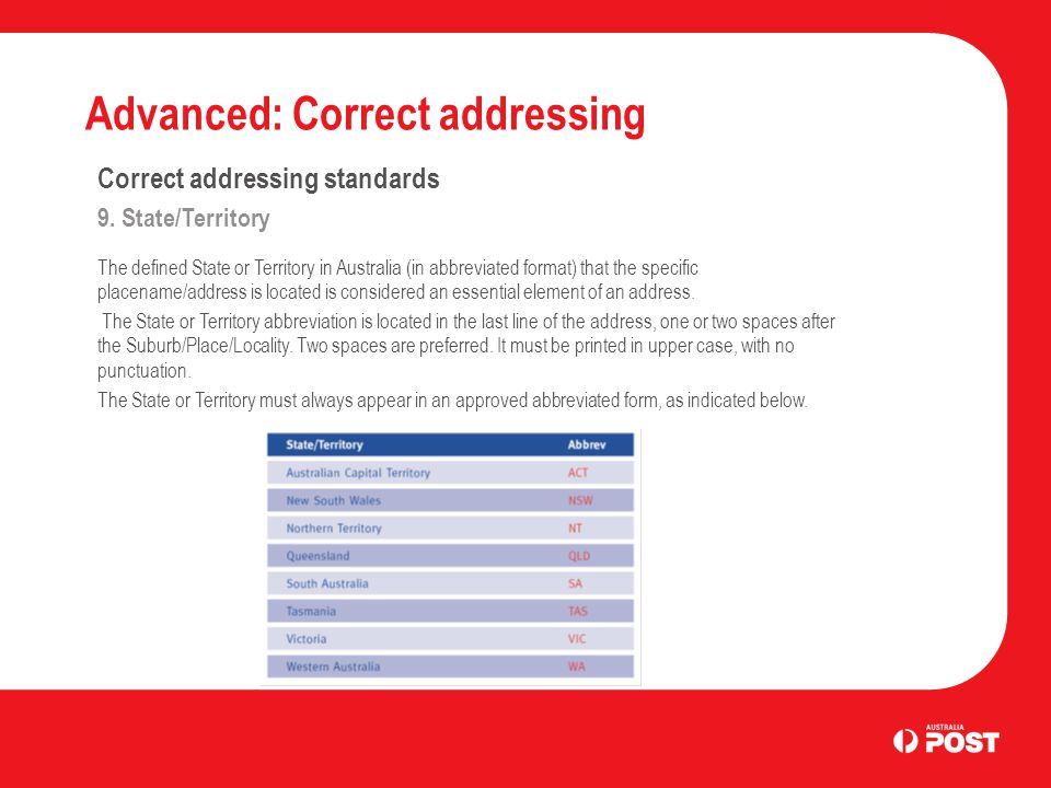 Advanced: Correct addressing Correct addressing standards 9.