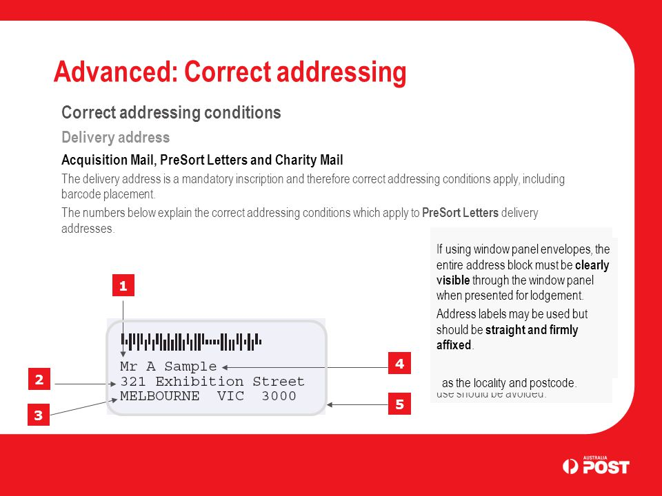 Advanced: Correct addressing Correct addressing conditions Delivery address Acquisition Mail, PreSort Letters and Charity Mail The delivery address is a mandatory inscription and therefore correct addressing conditions apply, including barcode placement.