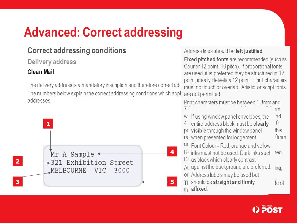Advanced: Correct addressing 1 2 3 4 5 Correct addressing conditions Delivery address Clean Mail The delivery address is a mandatory inscription and therefore correct addressing conditions apply.