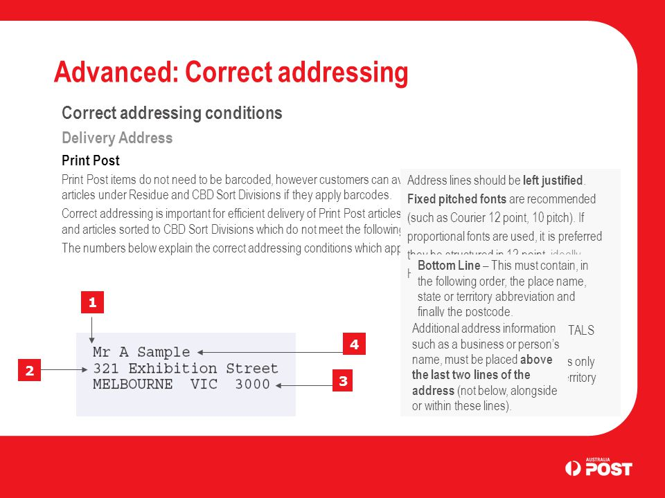 Advanced: Correct addressing Correct addressing conditions Delivery Address Print Post Print Post items do not need to be barcoded, however customers can avoid correct addressing conditions for articles under Residue and CBD Sort Divisions if they apply barcodes.