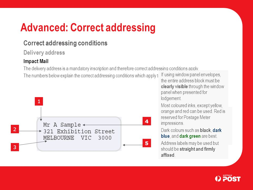 Advanced: Correct addressing Correct addressing conditions Delivery address Impact Mail The delivery address is a mandatory inscription and therefore correct addressing conditions apply.