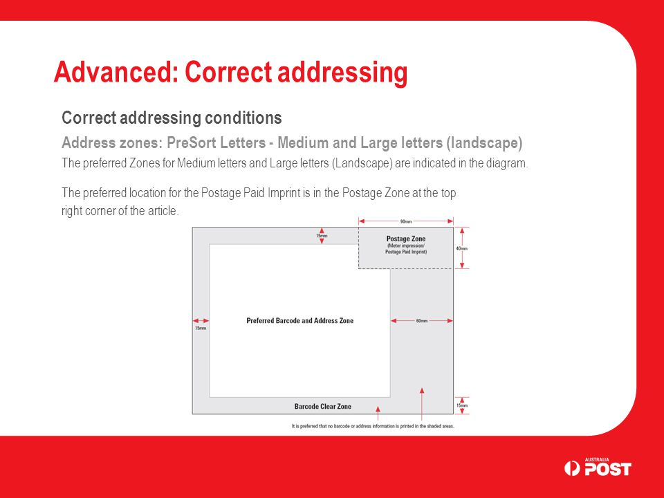 Advanced: Correct addressing Correct addressing conditions Address zones: PreSort Letters - Medium and Large letters (landscape) The preferred Zones for Medium letters and Large letters (Landscape) are indicated in the diagram.