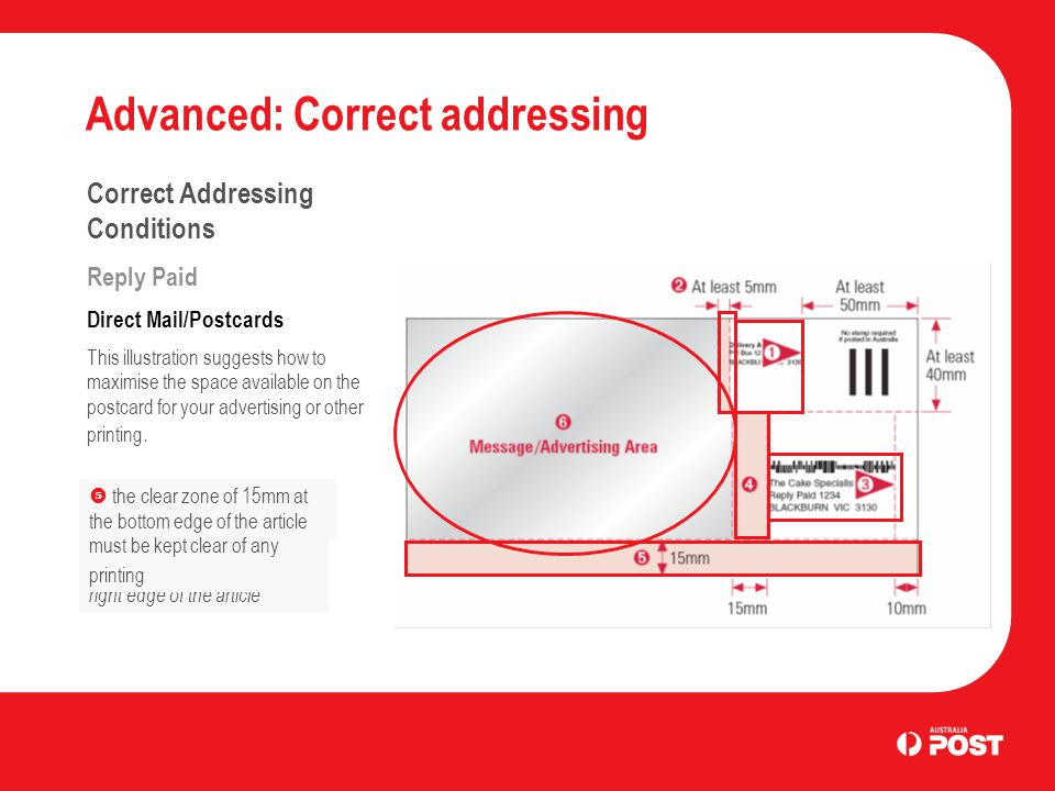 Advanced: Correct addressing Correct Addressing Conditions Reply Paid Direct Mail/Postcards This illustration suggests how to maximise the space available on the postcard for your advertising or other printing.