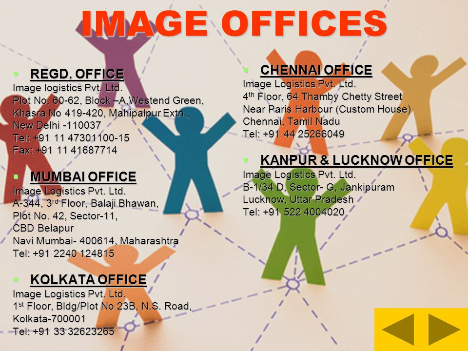 IMAGE OFFICES REGD. OFFICE REGD. OFFICE Image logistics Pvt. Ltd. Plot No. 60-62, Block –A,Westend Green, Khasra No 419-420, Mahipalpur Extn., New Del