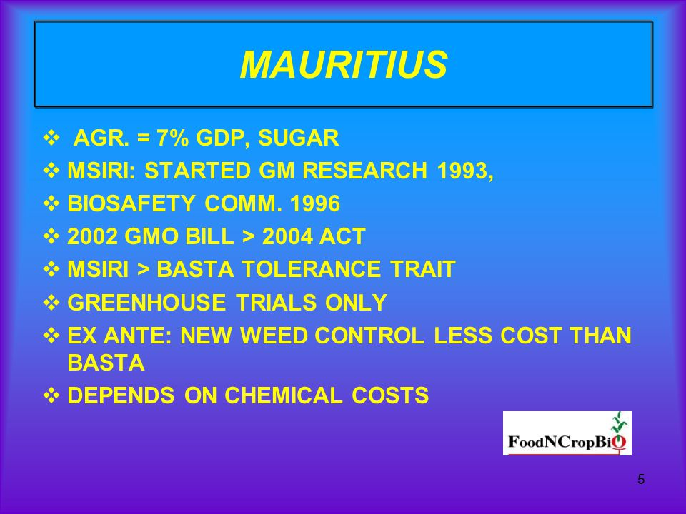 5 MAURITIUS AGR. = 7% GDP, SUGAR MSIRI: STARTED GM RESEARCH 1993, BIOSAFETY COMM.