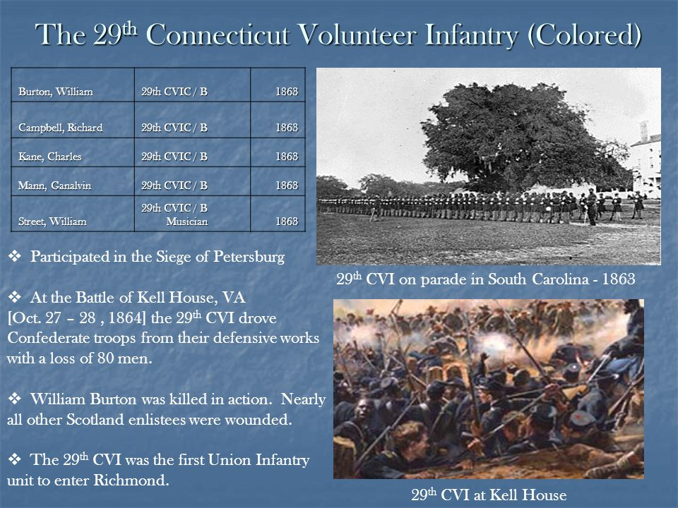 The 29 th Connecticut Volunteer Infantry (Colored) Burton, William 29th CVIC / B 1863 Campbell, Richard 29th CVIC / B 1863 Kane, Charles 29th CVIC / B 1863 Mann, Ganalvin 29th CVIC / B 1863 Street, William 29th CVIC / B Musician 1863 29 th CVI on parade in South Carolina - 1863 29 th CVI at Kell House Participated in the Siege of Petersburg At the Battle of Kell House, VA [Oct.