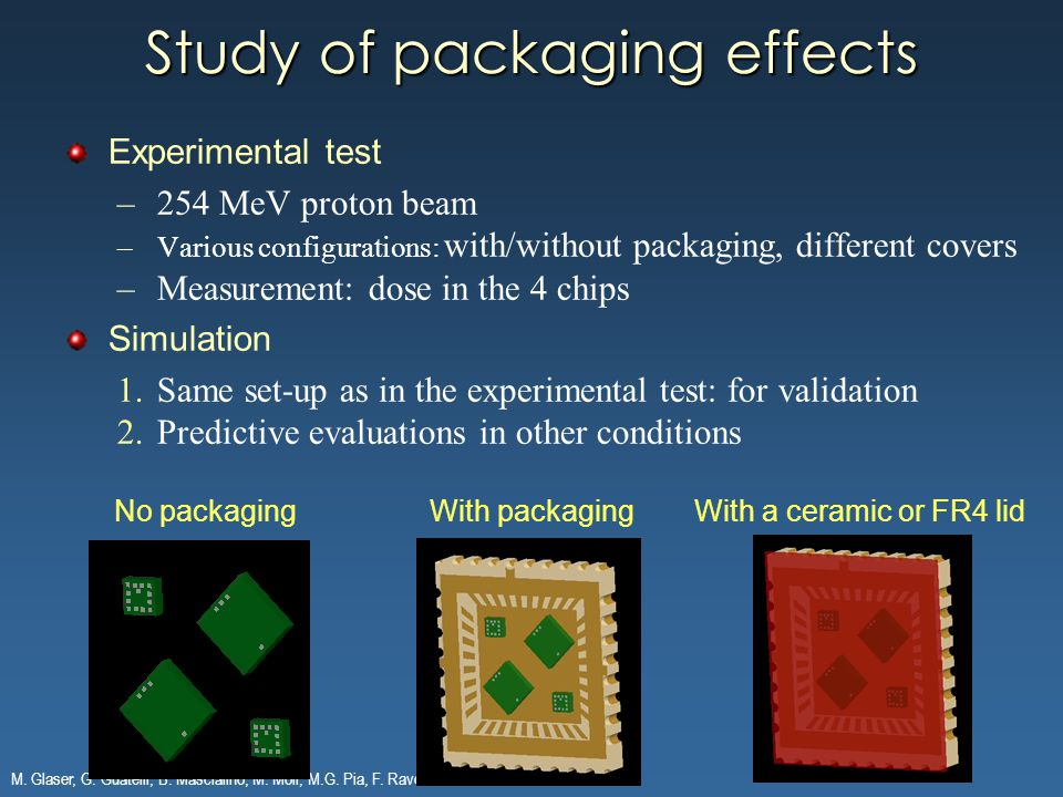 M. Glaser, G. Guatelli, B. Mascialino, M. Moll, M.G. Pia, F. Ravotti Study of packaging effects Experimental test –254 MeV proton beam –Various config