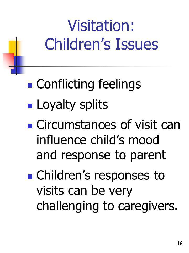 18 Visitation: Childrens Issues Conflicting feelings Loyalty splits Circumstances of visit can influence childs mood and response to parent Childrens