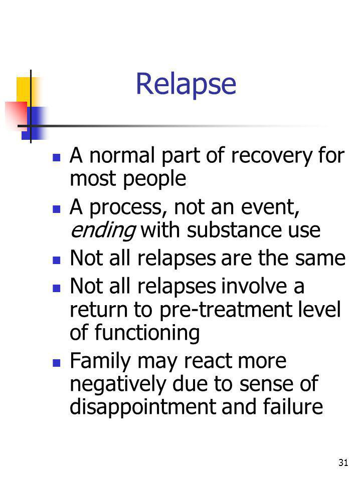 31 Relapse A normal part of recovery for most people A process, not an event, ending with substance use Not all relapses are the same Not all relapses