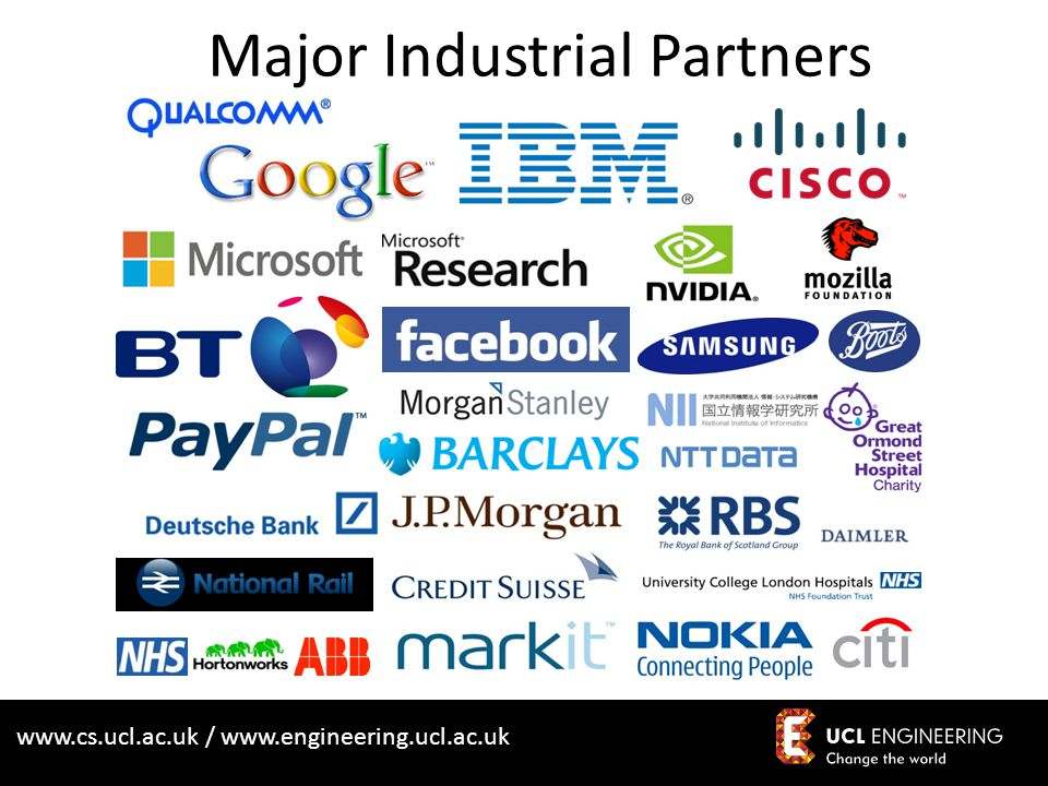 www.cs.ucl.ac.uk / www.engineering.ucl.ac.uk Major Industrial Partners