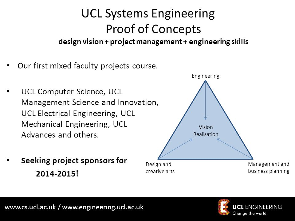 www.cs.ucl.ac.uk / www.engineering.ucl.ac.uk UCL Systems Engineering Proof of Concepts design vision + project management + engineering skills Our first mixed faculty projects course.