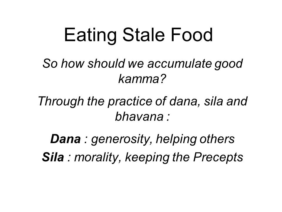 Eating Stale Food So how should we accumulate good kamma.