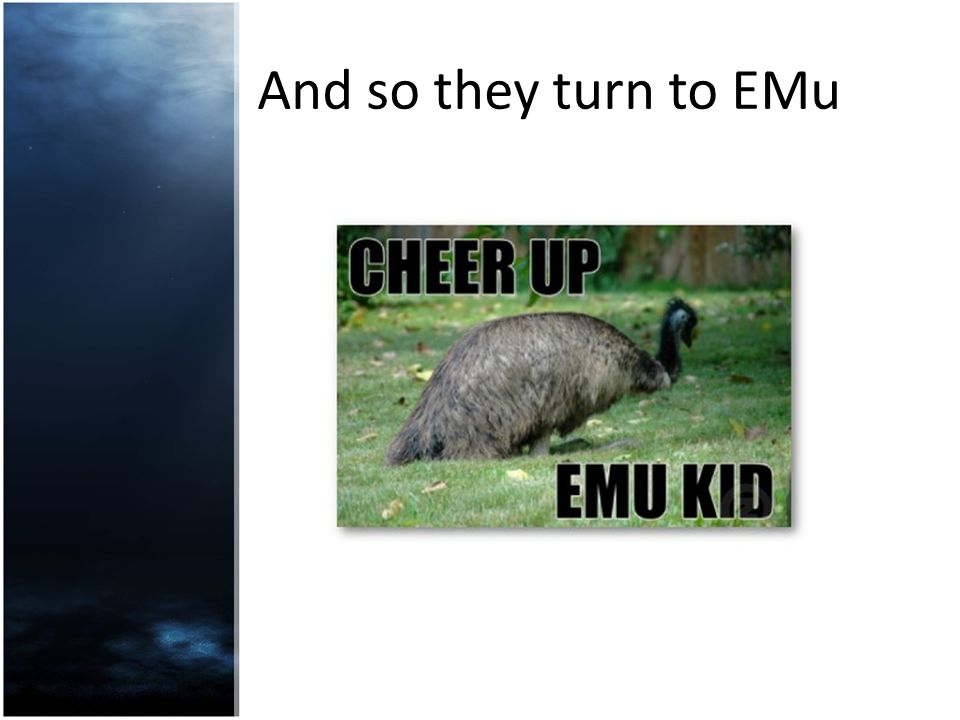 And so they turn to EMu