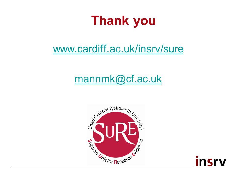 Thank you www.cardiff.ac.uk/insrv/sure mannmk@cf.ac.uk