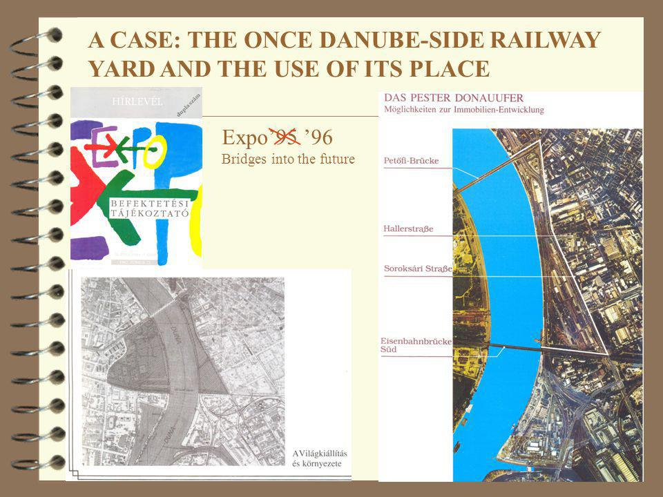 A CASE: THE ONCE DANUBE-SIDE RAILWAY YARD AND THE USE OF ITS PLACE Expo95 96 Bridges into the future