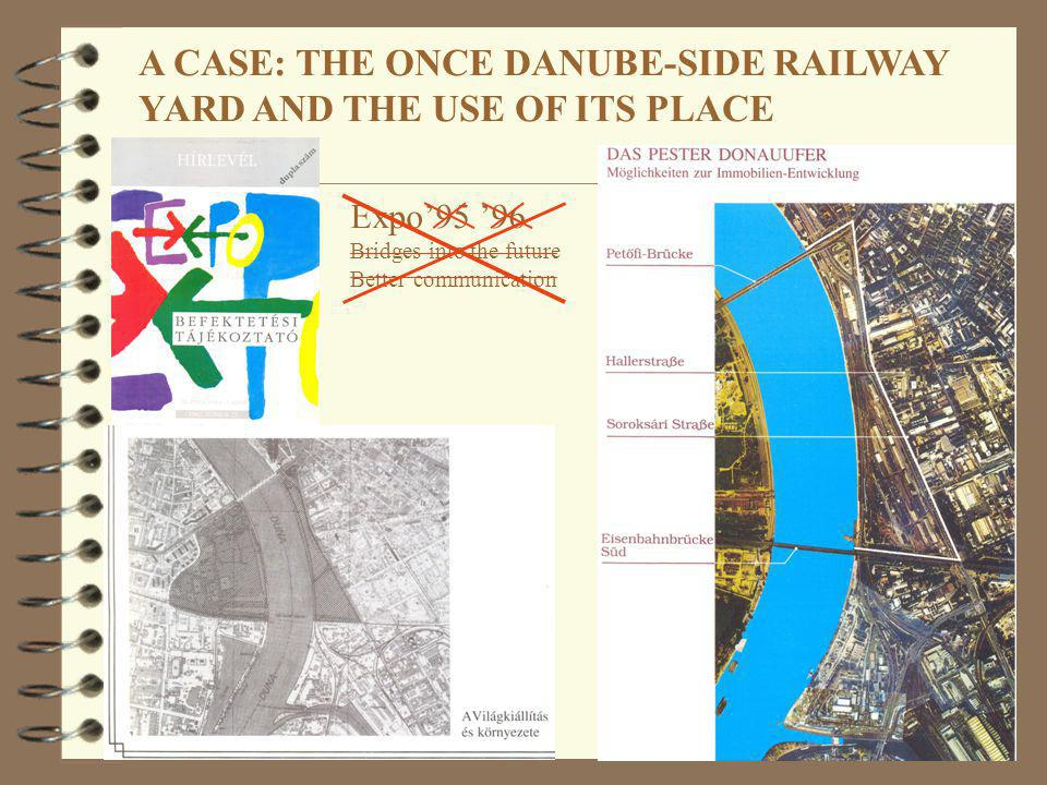 A CASE: THE ONCE DANUBE-SIDE RAILWAY YARD AND THE USE OF ITS PLACE Expo95 96 Bridges into the future Better communication