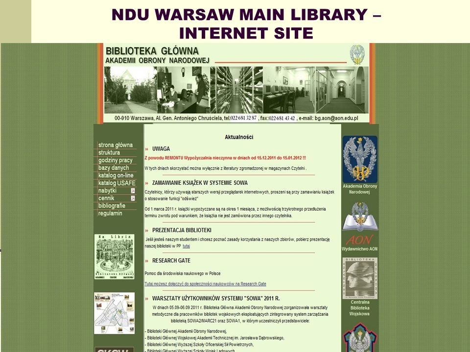 NDU WARSAW MAIN LIBRARY – INTERNET SITE