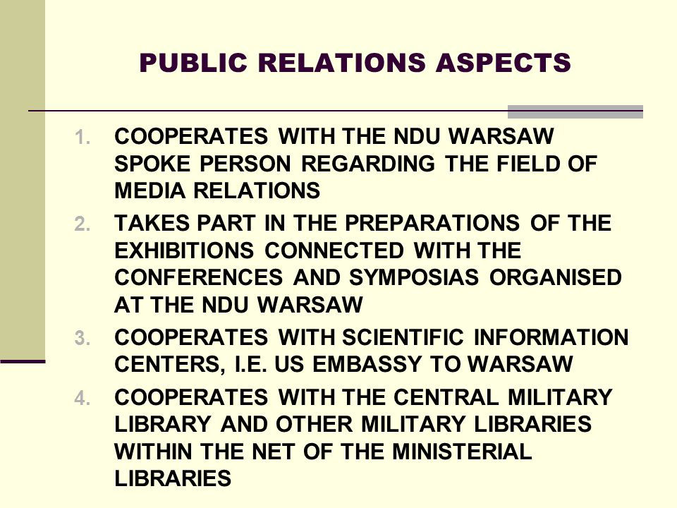 PUBLIC RELATIONS ASPECTS 1.