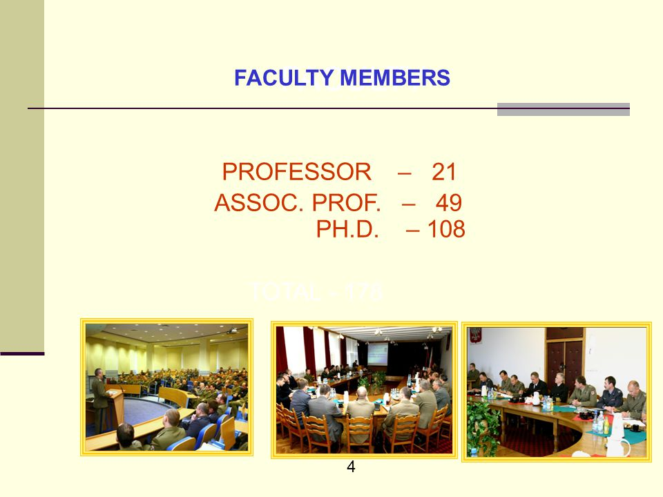 4 FACULTY PROFESSOR – 21 ASSOC. PROF. – 49 PH.D. – 108 TOTAL - 178 FACULTY MEMBERS