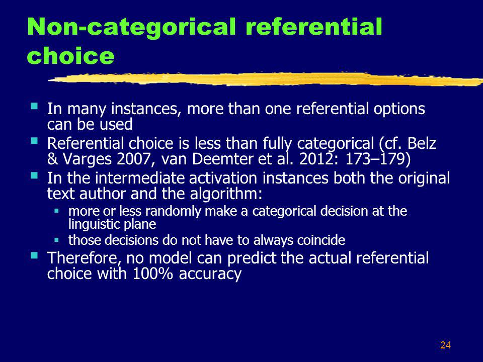 24 Non-categorical referential choice In many instances, more than one referential options can be used Referential choice is less than fully categorical (cf.