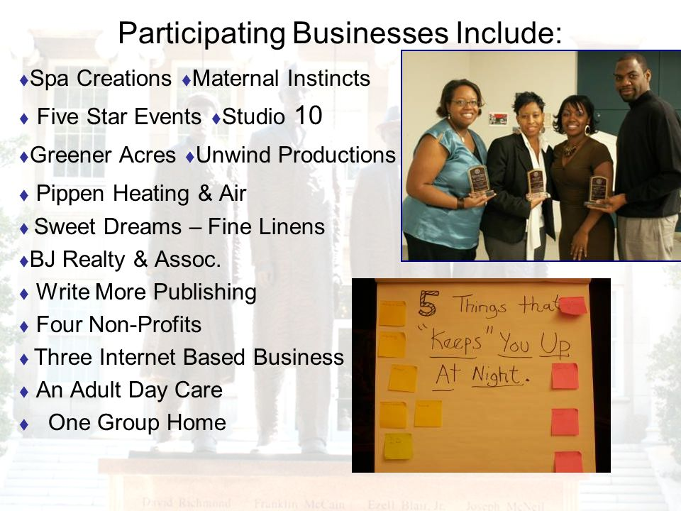 Participating Businesses Include: Spa Creations Maternal Instincts Five Star Events Studio 10 Greener Acres Unwind Productions Pippen Heating & Air Sw