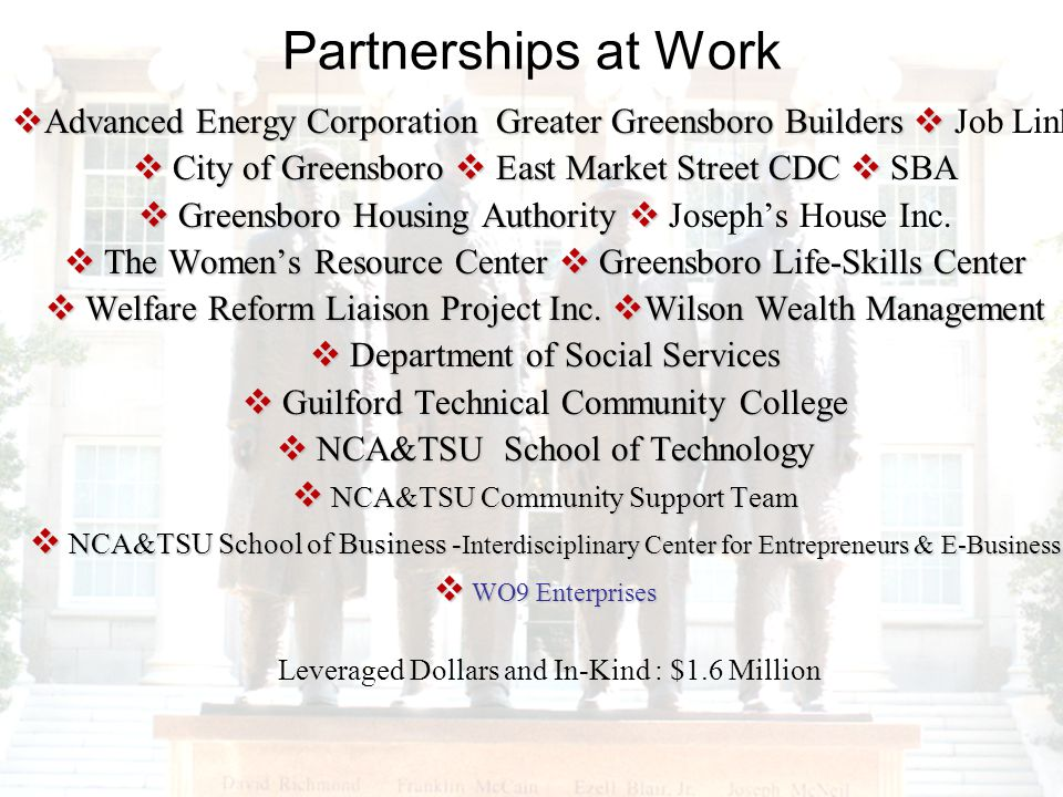 Partnerships at Work Advanced Energy Corporation Greater Greensboro Builders Advanced Energy Corporation Greater Greensboro Builders Job Link City of