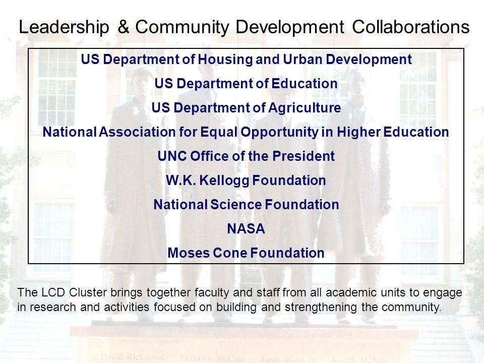 Leadership & Community Development Collaborations US Department of Housing and Urban Development US Department of Education US Department of Agriculture National Association for Equal Opportunity in Higher Education UNC Office of the President W.K.
