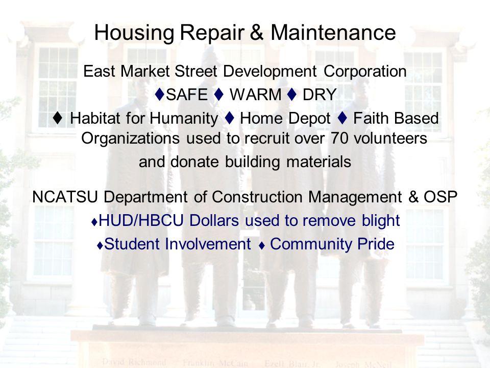 Housing Repair & Maintenance East Market Street Development Corporation SAFE WARM DRY Habitat for Humanity Home Depot Faith Based Organizations used t