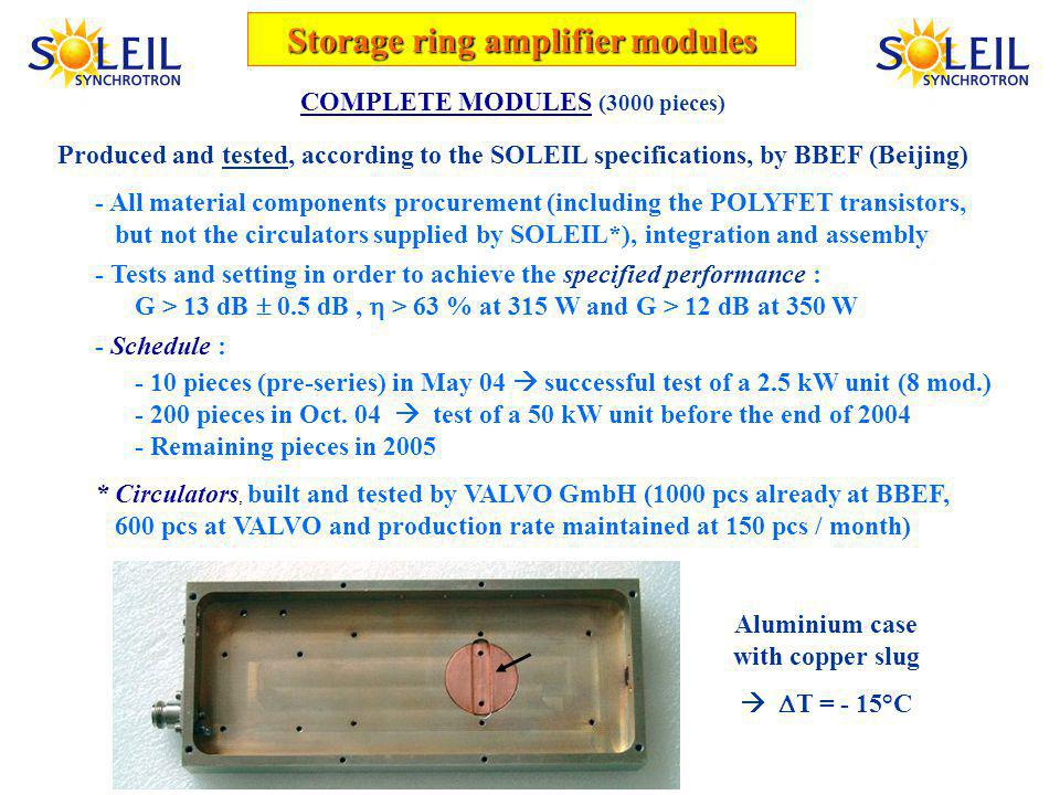 COMPLETE MODULES (3000 pieces) Produced and tested, according to the SOLEIL specifications, by BBEF (Beijing) - All material components procurement (including the POLYFET transistors, but not the circulators supplied by SOLEIL*), integration and assembly - Tests and setting in order to achieve the specified performance : G > 13 dB 0.5 dB, > 63 % at 315 W and G > 12 dB at 350 W - Schedule : - 10 pieces (pre-series) in May 04 successful test of a 2.5 kW unit (8 mod.) - 200 pieces in Oct.