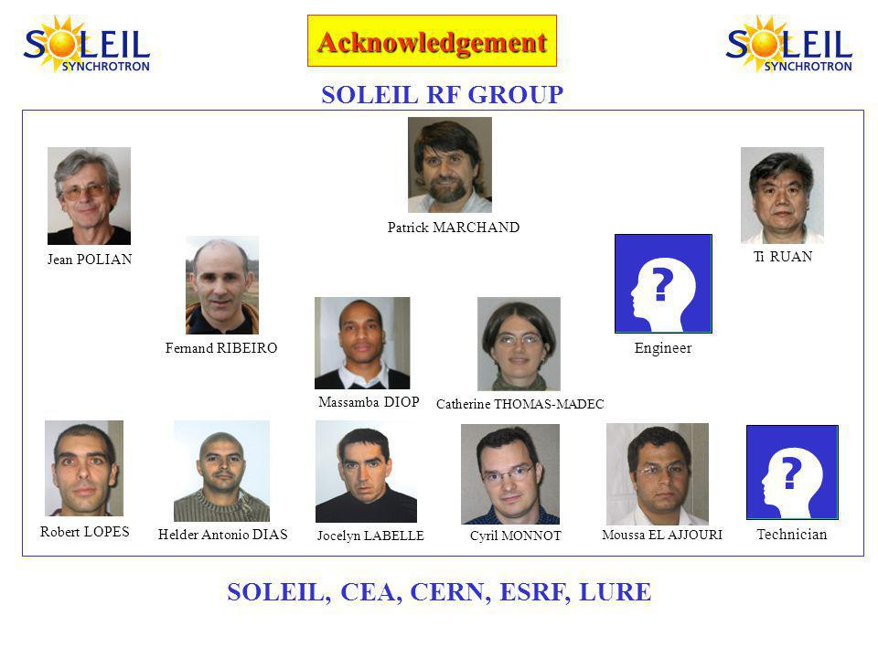Acknowledgement SOLEIL, CEA, CERN, ESRF, LURE SOLEIL RF GROUP Patrick MARCHAND Jean POLIAN Robert LOPES Fernand RIBEIRO Catherine THOMAS-MADEC Ti RUAN Helder Antonio DIAS Jocelyn LABELLE Massamba DIOP Engineer Technician Cyril MONNOT Moussa EL AJJOURI